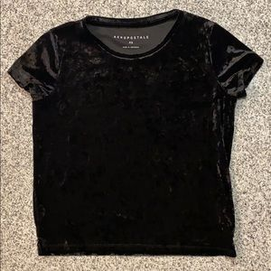Aeropostale Black Velvet Crop Top
